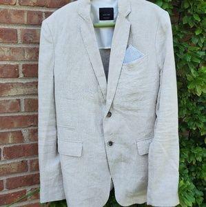 Zara mens natural linen blazer jacket 38